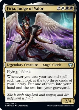 Firja, Judge of Valor Black White Archetype Kaldheim Draft