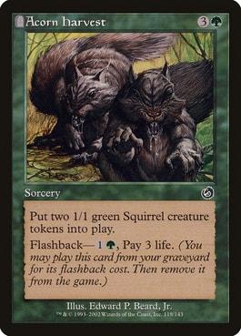 Acorn Harvest Best Cards for Squirrel Tribal MTG