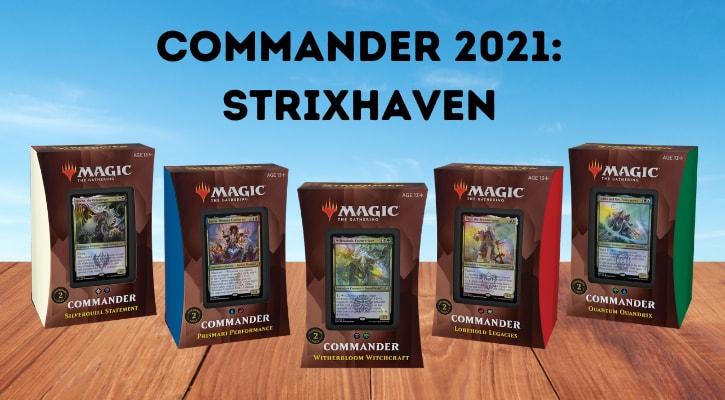 Commander 2021 Strixhaven Decklists Decks Precons Banner