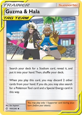 Guzma and Hala Best Supporter Trainer Cards