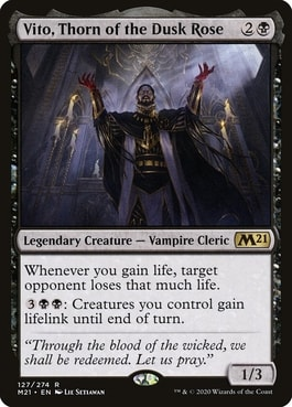 Vito Thorn of the Dusk Rose Commander Life Gain Cards Vampire